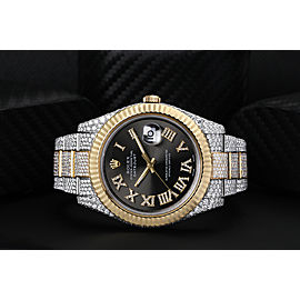 Rolex Datejust 41 Two Tone Yellow Custom Diamond Watch Fluted Bezel Dark Grey Diamond Roman Numbers Dial