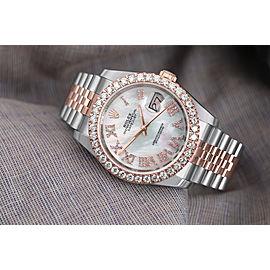 Rolex Datejust 36mm Two Tone Rose Watch Jubilee Band Custom Diamond Bezel MOP Dial