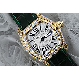 Cartier Roadster Custom Diamond Yellow Gold Ladies Watch W62018Y5 Green Leather Strap