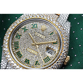Rolex Datejust 41 Stainless Steel and 18k Yellow Gold Custom Fully Iced Out Watch Green Roman Dial
