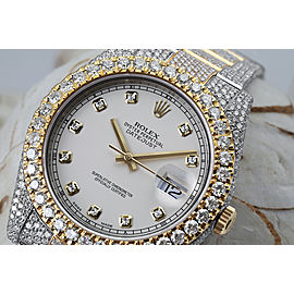 Rolex Datejust 41 Stainless Steel and 18k Yellow Gold Custom Fully Iced Out Watch White Diamond Dial