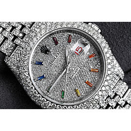 Rolex Datejust 36mm Stainless Steel Rainbow Index Pave Diamond Dial Fully Iced Out Watch Jubilee Band