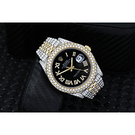 Rolex Datejust 41mm 126303 Custom Diamond Yellow Gold and Stainless Steel Watch Black Roman Dial