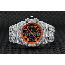 Audemars Piguet Royal Oak Offshore Chronograph Volcano Stainless Steel Fully Iced Out Watch