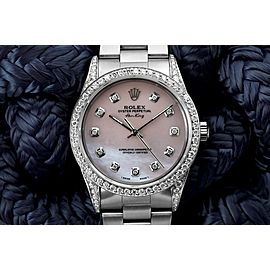 Rolex Air King Pink Mother Of Pearl Dial Diamond Bezel and Lugs Steel Watch 14000