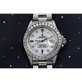 Rolex Submariner Stainless Steel Custom White MOP Diamond Dial Middle Diamond Bracelet Bezel and Lugs 16610