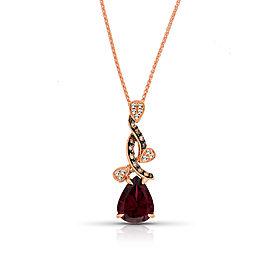 14k Rose Gold Rhodolite Pendant Necklace