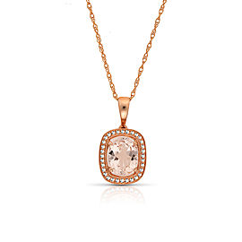14k Rose Gold Morganite Pendant Necklace