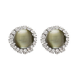 White Gold Cat's Eye Chrysoberyl Diamond Ear Clips