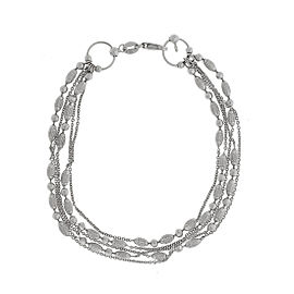 14K White Gold Multistrand Textured Bracelet