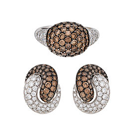 18k White Gold Brown and White Diamond Earring and Ring Set