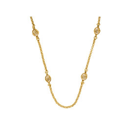 Chanel Gold-Tone Metal Simulated Glass Pearl Egg Necklace