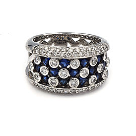 Sapphire And White Diamond Ring In 14 Karat White Gold Ring Size 7