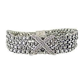 David Yurman Sterling Silver Chain Pave Diamond Bracelet