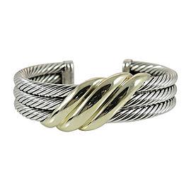 David Yurman Sterling Silver 14K Yellow Gold Row Wave Cuff Bracelet