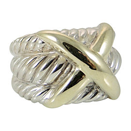David Yurman Sterling Silver 14K Yellow Gold Wide Triple Row X Dome Ring