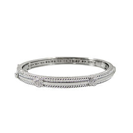Judith Ripka 18K White Gold Pave Diamond Hearts Bangle Bracelet