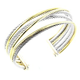 David Yurman SS/18K Cross Over Cuff Bracelet
