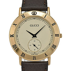 GUCCI 3000.2.M Ivory Dial GP/Leather Quartz Men's Watch