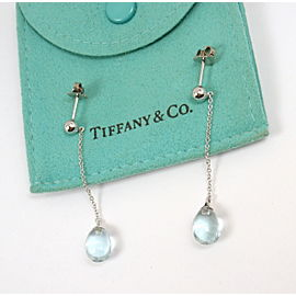 Tiffany & Co. 18K White Gold Aquamarine Drop Rainbow Earrings