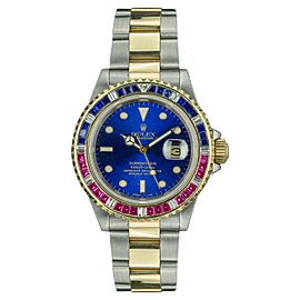 Rolex Submariner 16613 18K Yellow Gold and Stainless Steel with Blue Dial 40mm Mens Watch