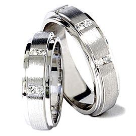 14K White Gold Diamond His and Her Ring Set Size 9.75 & 10