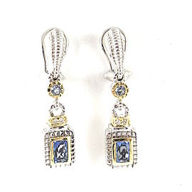 Judith Ripka Sterling Silver & 18K Yellow Gold Blue Topaz & Diamond Drop Earrings