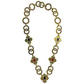 18 Karat Yellow Gold Link Onyx Coral Diamond Necklace