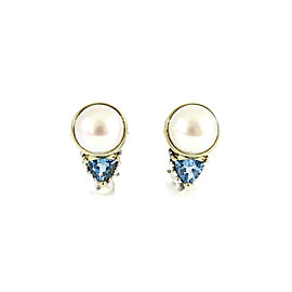 Lagos Sterling Silver 18K Yellow Gold Mabe Pearl Blue Topaz Glacier Delta Earrings