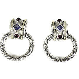 David Yurman 14K Yellow Gold, Sterling Silver Large Convertible Iolite Rhodolite Garnet Doorknocker Earrings