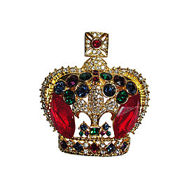 Butler and Wilson 18K Gold Plated Swarovski Crystal Crown Pin