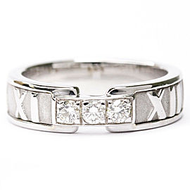TIFFANY & CO. 18K White Gold Atlas 3P Diamond Band Ring