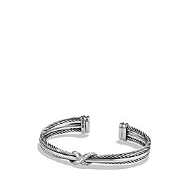 David Yurman Sterling Silver & 0.14ct Diamond X Crossover Cuff Bangle
