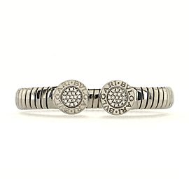 Bvlgari Tubogas Cuff Bangle Bracelet Stainless Steel and Diamonds