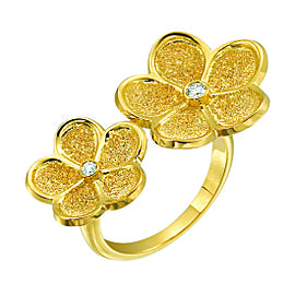 Gumuchian Daisy 18K Yellow Gold and 0.07ct Diamond Floating Ring Size 6.5