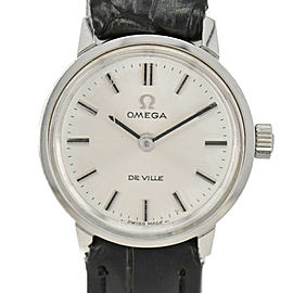 OMEGA Deville Silver Dial Stainless steel/Leather Automatic Ladies Watch