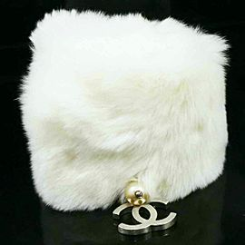CHANEL Rabbit Fur Coco Mark Logo Bangle Bracelet
