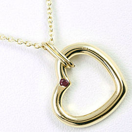TIFFANY & Co. 18K yellow gold/Ruby Open heart Necklace NST-1092