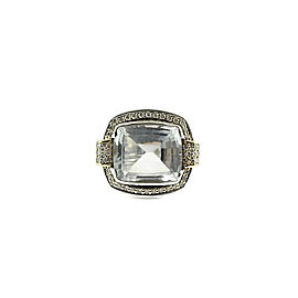 Lagos Sterling Silver and 18K Yellow Gold with 0.96ctw. Diamond and White Topaz Glacier Luxe Ring Size 7