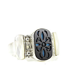 Stephen Dweck Sterling Silver Onyx Inlay Mother of Pearl Three Stone Ring Size 6.75