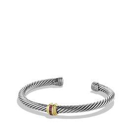 David Yurman Cable Classics Sterling Silver & 14K Yellow Gold Rubies Single-Station Bracelet