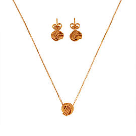 Tiffany & Co. Twist Knot 18K Rose Gold Earrings and Necklace Set