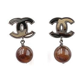 Chanel CC Silver Tone Petrified Wood Bead Piercing Earrings