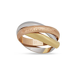 Cartier 18K White, Yellow, Rose Gold Trinity Ring Size 5.75