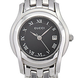 GUCCI 5500L Black Dial Date Stainless Steel Quartz Women's Watch