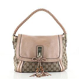 Gucci Bella Flap Shoulder Bag GG Canvas with Leather Medium