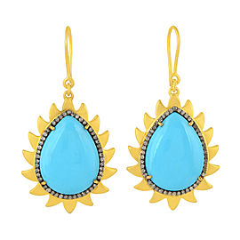 18K Gold & Sterling Silver Turquoise & Diamonds Flame Earrings
