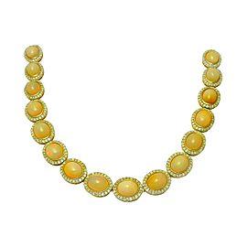 14K Yellow Gold Opal Diamond Necklace