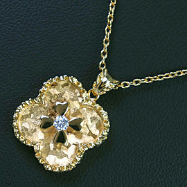 18k yellow gold/diamond Clover Necklace