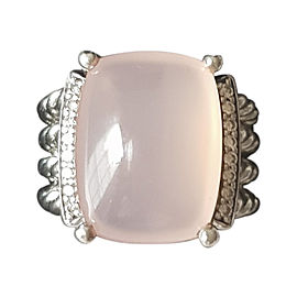 David Yurman Wheaton 925 Sterling Silver Rose Quartz & Diamonds Ring Size 5.5